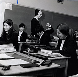 Sister Brigid Marie Grandey with her English class