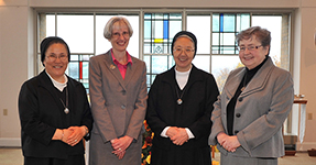 Sisters of Charity of Seton Hill General Council members from left to right: Sister Seon Ja Lee, SC, Sister Carole M. Blazina, SC, General Superior Sister Sung Hae Kim, SC and Sister Mary Jo Mutschler, SC